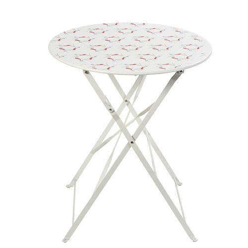 Table De Jardin Pliante En Metal Blanc 2 Personnes D58
