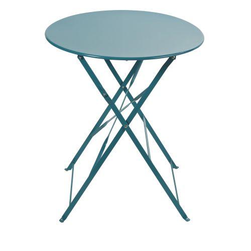 Table de jardin pliante en métal bleu canard 2 personnes D58
