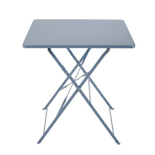 Table de jardin pliante en métal bleu gris 2 personnes L70