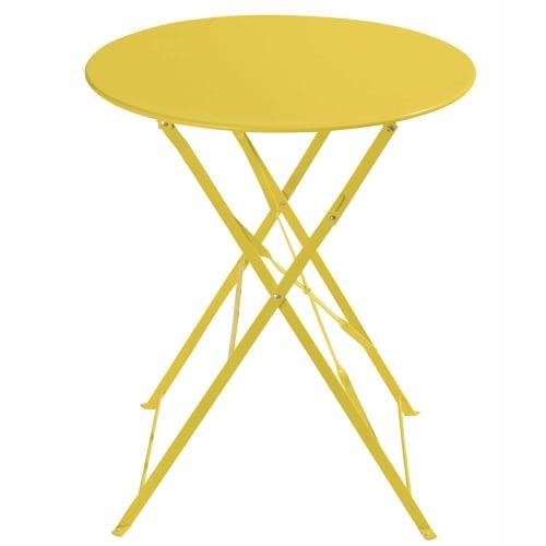 Table de jardin pliante en métal jaune D58 | Maisons du Monde