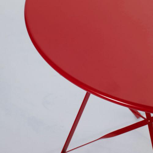 Table de jardin pliante en métal rouge 2 personnes D58