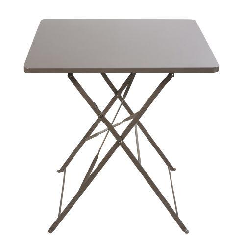 Table de jardin pliante en métal taupe 2 personnes L70