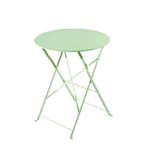 Table de jardin pliante en métal vert d\'eau D58 | Maisons du Monde