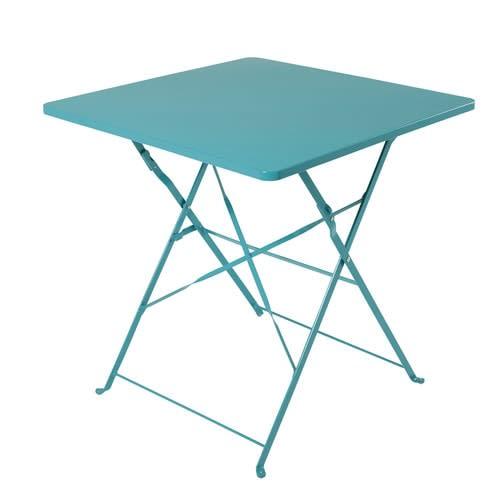 Table de jardin professionnelle en métal bleu pétrole L70