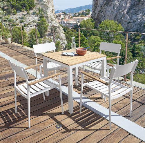 Table de jardin professionnelle en teck et métal blanc L75