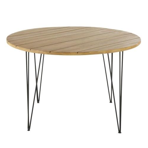 Table de jardin ronde en acacia massif et métal noir 4 places D120