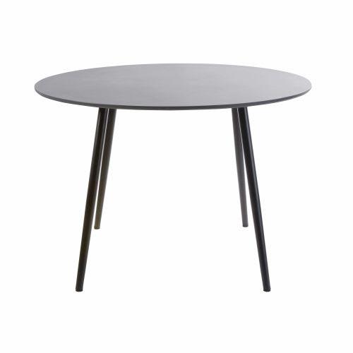 Table de jardin ronde en béton gris anthracite 5 personnes D110
