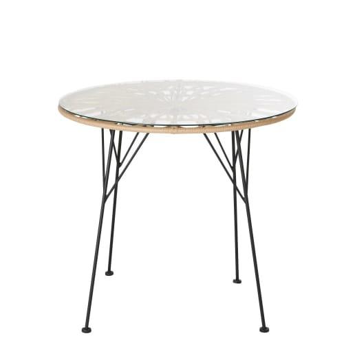 Table de jardin ronde en résine imitation rotin 2 personnes D79