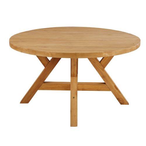 Table de jardin ronde en teck recyclé 6 personnes D140