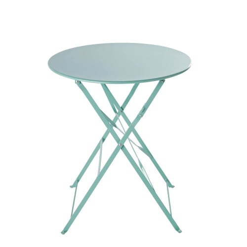 Table De Jardin Ronde Pliante En Metal Bleu Turquoise D58