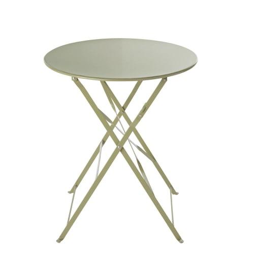 Table de jardin ronde pliante en métal vert tilleul D58