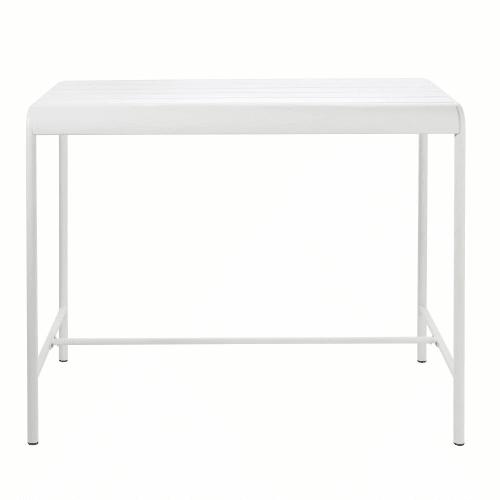 Table haute de jardin en métal blanc 4 personnes L130 | Maisons du Monde