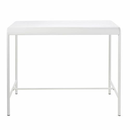 Table haute de jardin en métal blanc 4 personnes L130
