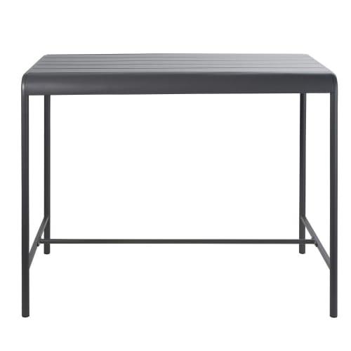 Table haute de jardin en métal gris 4 personnes L130