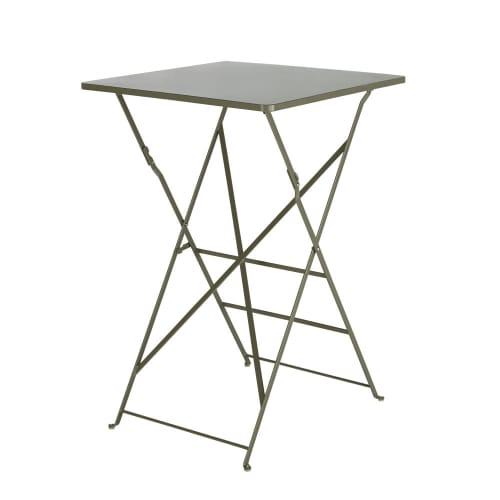 Table haute de jardin professionnelle en métal kaki H105