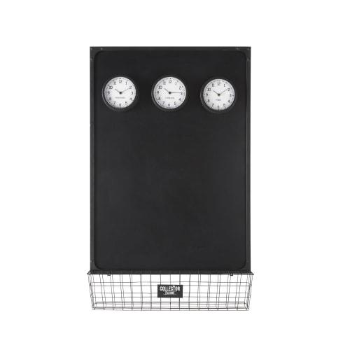 Tableau Ardoise Avec 3 Horloges Mobiles Aimantees 75x121 Joe Maisons Du Monde