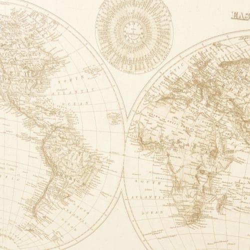 Tableau Carte Du Monde En Métal Noir 133x87