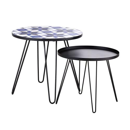 Tables basse de jardin en faïence à motifs et métal noir (x2)