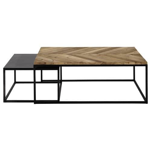 Maison Du Monde Table Gigogne.Tables Gigognes En Bois Recycle Et Metal