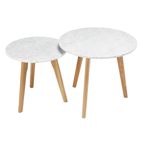 Tables gigognes en marbre et chêne