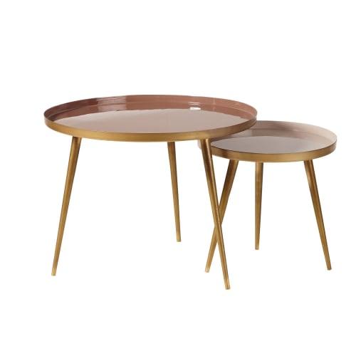 Maison Du Monde Table Gigogne.Tables Gigognes En Metal Beige Rose Et Dore Maisons Du Monde