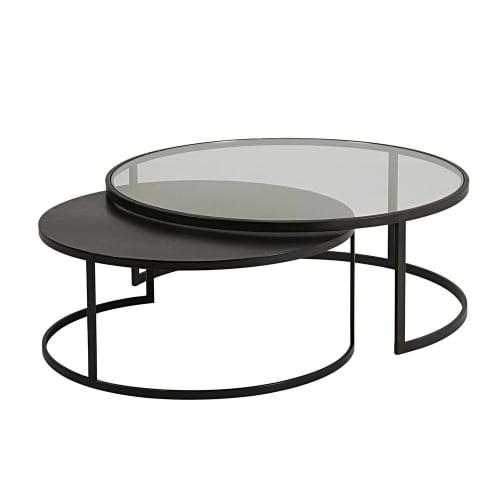 Tables gigognes en verre trempé et métal noir  Maisons du Monde