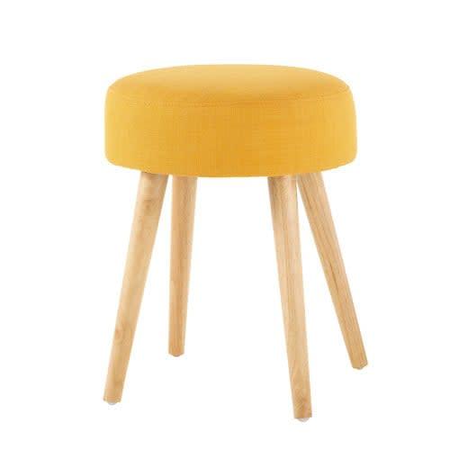 Tabouret jaune et pieds en pin et h v a pin 39 up maisons - Taburetes maison du monde ...