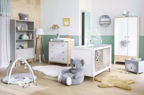 Tapis d\'éveil bébé rond en coton gris et bleu D90