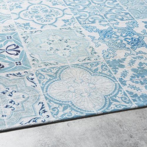 Tapis D Extérieur Blanc Motifs Carreaux De Ciment Bleus 155x230