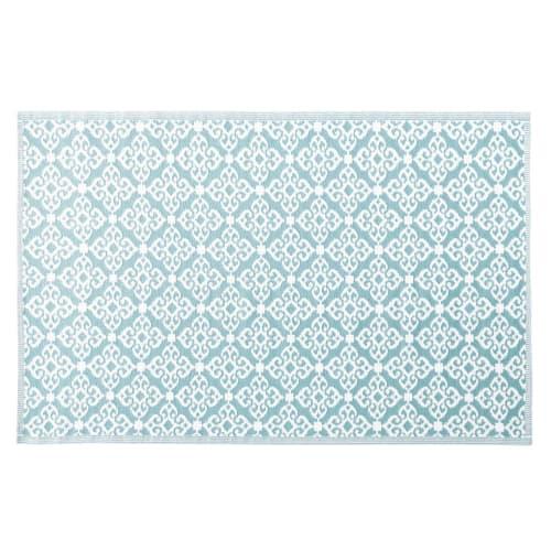 Tapis D Exterieur Bleu Motifs Graphiques Blancs 140x200 Rosace