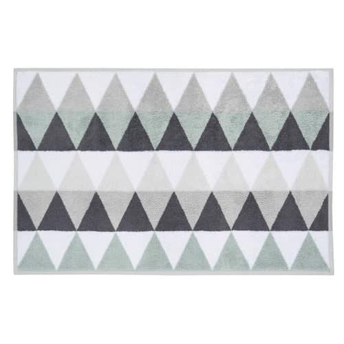 tapis de bain en coton blanc gris 50 x 80 cm triangle. Black Bedroom Furniture Sets. Home Design Ideas