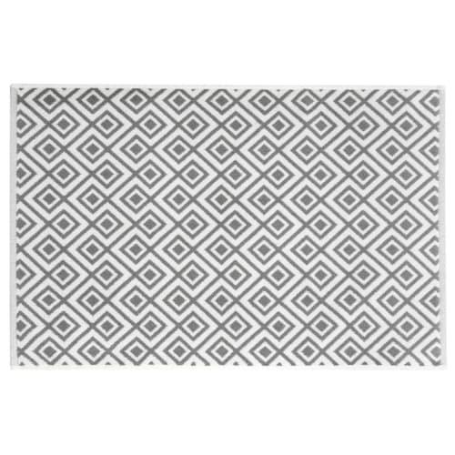 tapis de bain en coton blanc motifs gris 80x50cm graphic. Black Bedroom Furniture Sets. Home Design Ideas
