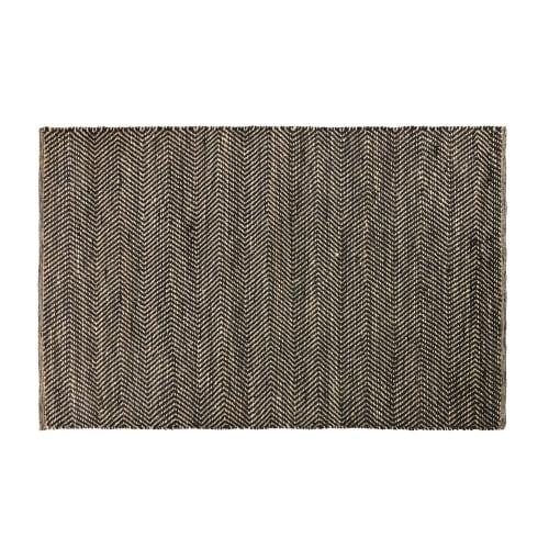 new list sale retailer detailing Tapis en coton et jute noir et marron motifs à chevrons 140x200