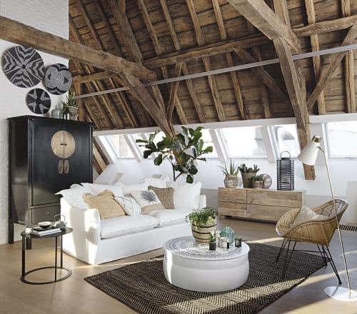 tapis en coton et jute noir et marron motifs a chevrons 140x200 maisons du monde