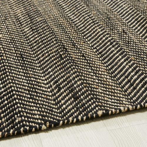 Tapis en coton et jute noir et marron motifs à chevrons 160x230