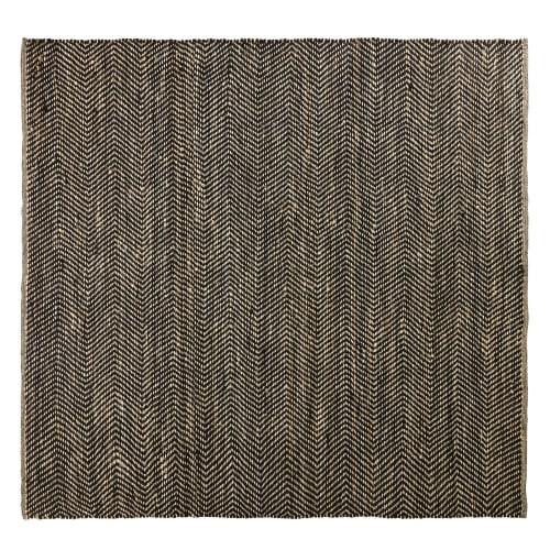 Tapis en coton et jute noir et marron motifs à chevrons 200x200
