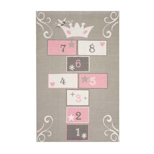 Tapis enfant marelle en coton gris et rose 120x180