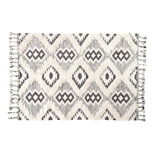 tapis tiss jacquard noir et blanc effet shaggy 160x230 assouan maisons du monde