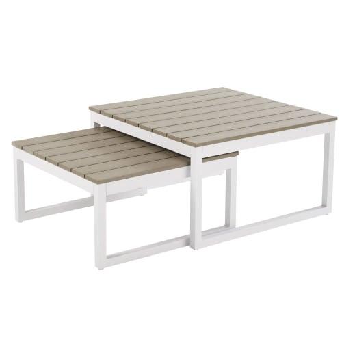 Tavoli sovrapponibili da giardino in alluminio bianco | Maisons du Monde