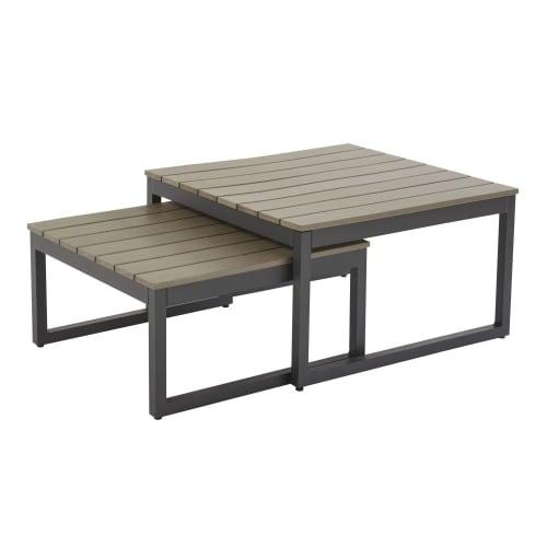 Tavoli sovrapponibili da giardino in alluminio grigio antracite | Maisons  du Monde