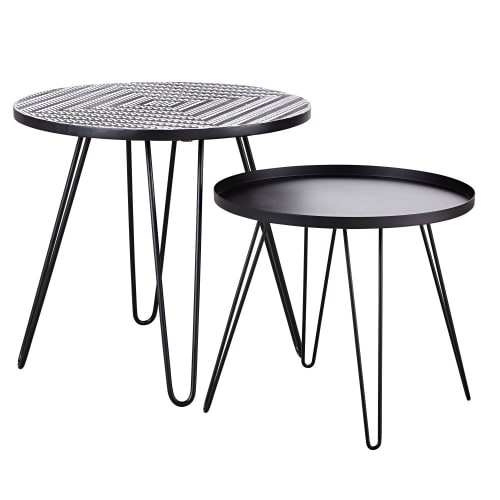 Tavoli In Maiolica Da Giardino.Tavolini Da Giardino In Maiolica Con Motivi E Metallo Nero X2