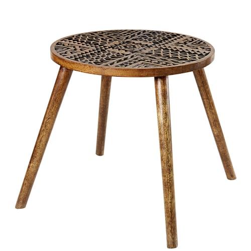 Divano Angolare Stile Etnico.Tavolino Da Divano In Legno Di Mango Inciso Motivi Etnici Yako