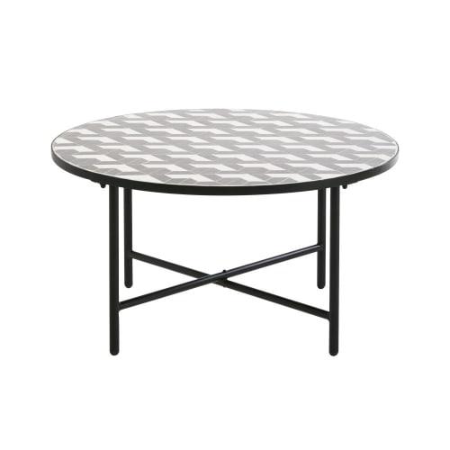 Tavoli In Maiolica Da Giardino.Tavolino Da Giardino Rotondo In Ceramica Grigia E Bianca