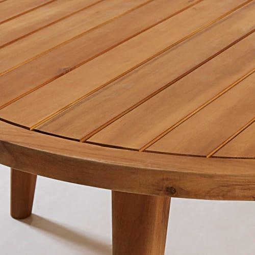 Tavolino Da Giardino Rotondo In Legno Massello Di Acacia Noumea Maisons Du Monde