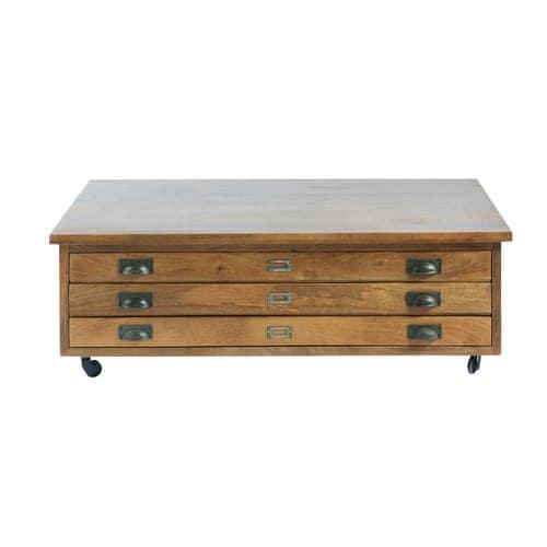 Tavolino da salotto con rotelle e 3 cassetti in legno massello di mango