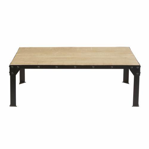 Tavolino da salotto in legno massello di mango e metallo nero