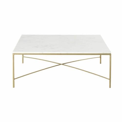 Tavolini Soggiorno Maison Du Monde.Tavolino Da Salotto In Marmo Bianco E Metallo Color Ottone Isaee Maisons Du Monde