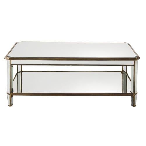 Cameron Tavolino da salotto in vetro con base in metallo