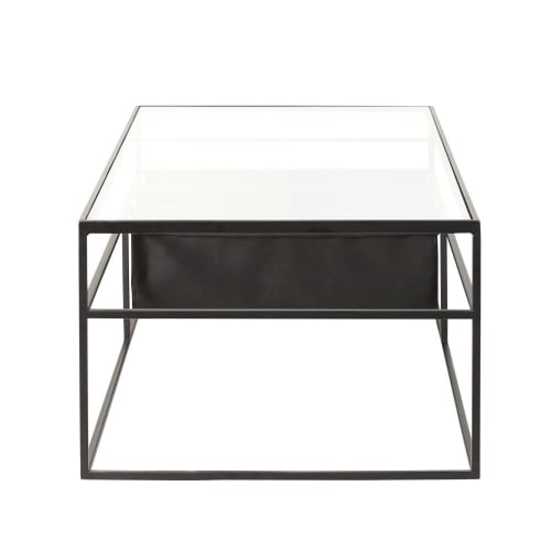 Tavolino da salotto in vetro e metallo nero