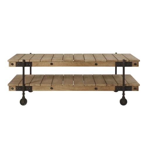 Tavolino da salotto industriale a rotelle in legno di mango e metallo nero